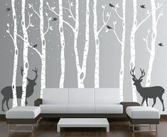 wald-dekoration-weiß-hirsch-grau-edel-schick-modern-vögel-wohnzimmer-besonders