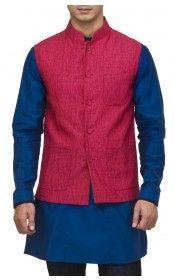 Fuchsia & orange reversible bandgala jacket.