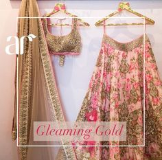 Anushree Reddy golden work on floral lehenga with golden blouse and duppatta Floral Lehenga, Pink Lehenga, Bridal Lehenga Choli, Lehenga Choli With Price, Lehenga Style, Ghagra Choli, Indian Bridal Wear, Indian Wedding Outfits, Indian Outfits
