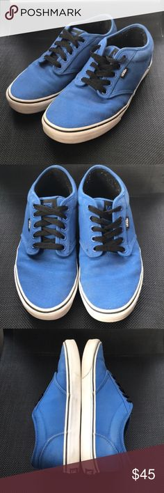 Blue and Black Atwood Vans Selling from my boyfriends personal closet! In excellent condition. Only worn about 5-6 times. No box. Some pilling on the inside shown in photos. No trades, no modeling. Offers welcome. Vans Shoes Sneakers