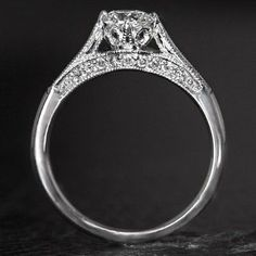 Custom Made Custom Filigree Art Deco Ring With Hand Engraving