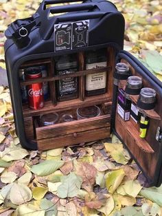 Mini Bar Jerry Can Camping Picnic Fuel Canister NEW Man Cave Handmade Metal Mens Gift - Mini-Bar is made from new Jerry fuel can. Standard 20 l metal can. Wood, leather and blue light ins - Mini Bars, Rangement Art, Jerry Can Mini Bar, Man Cave Gifts, Best Gifts For Men, Men Gifts, Unusual Gifts, Bars For Home, Inventions