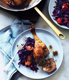 Australian Gourmet Traveller recipe for Tarragon duck legs with apple and cabbage