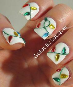 Christmas Lights Nail Art - http://yournailart.com/christmas-lights-nail-art/ - #nails #nail_art #nail_design #nail_polish