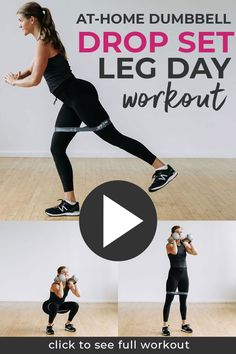 The best day of the week? LEG DAY! Here's the workout summary: ⁣⁣✔ Length: 45-Minutes⁣ ✔ Format: Drop Set (14 reps, then 12 reps, then 10 reps)⁣ ✔ Training Focus: Lower Body STRENGTH 💪⁣ ✔ Calorie Burn: 500  (for me personally, will vary from person to person!)⁣⁣⁣⁣ Intense Leg Workout, Best Leg Workout, Leg Day Workouts, At Home Workouts, Body Workouts, Leg Exercises, Up Fitness, Fitness Tips For Women, Drop Sets Workout