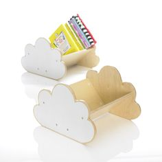 My Escape - Cloud Book Case  The Book Case is made from sturdy birch plywood. flat-packed/self assembly required and packaged in a gift box with instructions. They are part of the My Escape Collection. Each Book Case can hold aproximately 20 children's books of varying sizes. Match the Book Cases with the Play Cushions and Table Tents and add to the fun.  Other  Size: 32cm x 34cm x 32cm