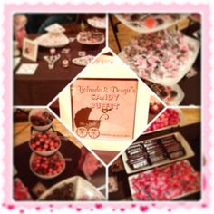 Pink and chocolate candy buffet