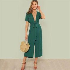 c05e857d28 Sheinside Plunge Neck Belted Culotte Jumpsuit Green Deep V Neck Short  Sleeve Knot Jumpsuits Women Summer Sexy Elegant Jumpsuit