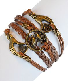 Look at this Tan 'Love You' Hands & Bird Braided Leather Bracelet on #zulily today!