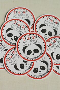 Panda Party Favor Tags or Stickers Panda Bear by thelovelyapple, $7.00