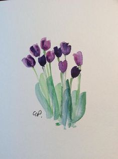Purple Tulips Watercolor Card / Hand Painted Watercolor Card #watercolorarts