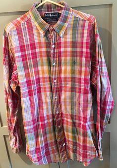 Nice Ralph Lauren Men's Size XL Madras Plaid Button Up Shirt EUC Spring! #LaurenRalphLauren