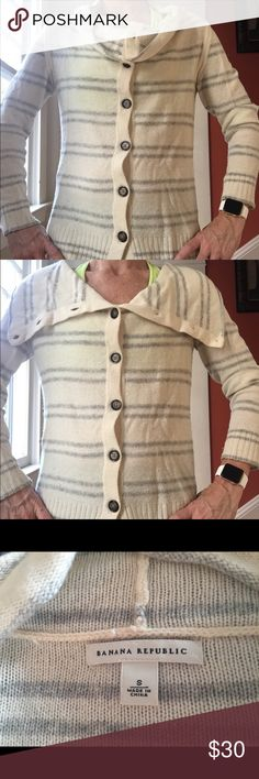 Cream and grey striped cowl neck cardigan This Banana Republic cardigan is very versatile. You can style the neck different ways. Some pilling. No stains. Banana Republic Sweaters Cardigans
