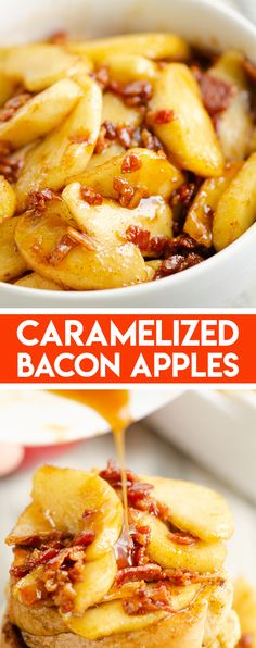 Caramelized Bacon & Apples is an amazing fruit topping for pancakes, ice cream, oatmeal, cheesecake and so much more! It has a fantastic balance of flavors with tart apples and brown sugar glazed bacon. #CaramelizedBacon #BaconApple #FruitTopping