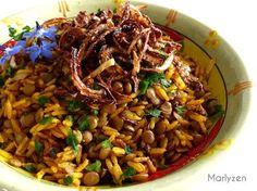 Marlyzen, cuisine revisitée: Mujaddara : riz aux lentilles à la libanaise