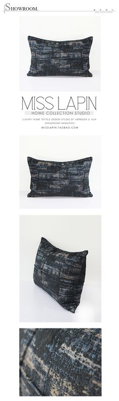 MISS LAPIN/简约现代/沙发/高档抱枕/蓝色雪尼尔三色提花星空腰枕-淘宝网