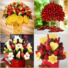 Are these fruit bouquet too amazing to eat?  Check out a few other wonderful food creations in our 'Food Ideas' gallery at http://theownerbuildernetwork.co/xz73  What kid wouldn't want to eat their fruit when it looks like this?