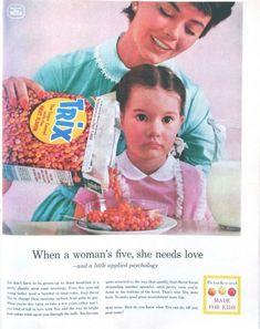 Creepy Vintage Trix cereal ad with disturbed girl. Creepy Vintage, Vintage Ads, Vintage Food, Retro Food, Funny Vintage, Vintage Magazines, Vintage Stuff, Vintage Signs, Vintage Posters