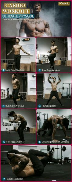 Today we are going to do cardio workout which we have never done before, this can be done three days a week to achieve ultimate physique. We will do 7 exercises and each exercise 45 sec and then take 15 sec rest. Fitness Hacks, Fitness Workouts, Workout Cardio, Fitness Motivation, Cardio Training, Calisthenics Workout, Aerobics Workout, Planet Fitness Workout, Ab Workouts
