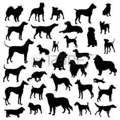 Set von Hunden Silhouette. photo