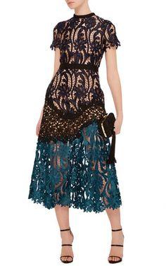 Lace Combo Midi Dress by Self Portrait | Moda Operandi
