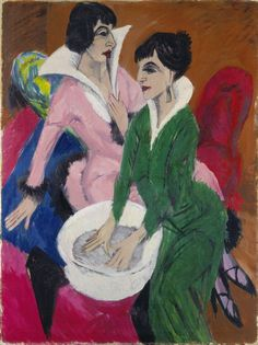 ERNST LUDWIG KIRCHNER, Two Women with Washbasin; The Sisters (Zwei Frauen mit Waschbecken; Die Schwestern), 1913. Oil on canvas, 121 x 90.5 cm.