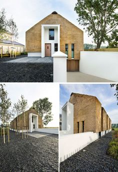 12 Examples Of Modern Houses And Buildings That Have A Thatched Roof | The roof and walls of this family home in the Netherlands uses tightly packed thatch and white plaster to create a look that has both traditional and modern elements.