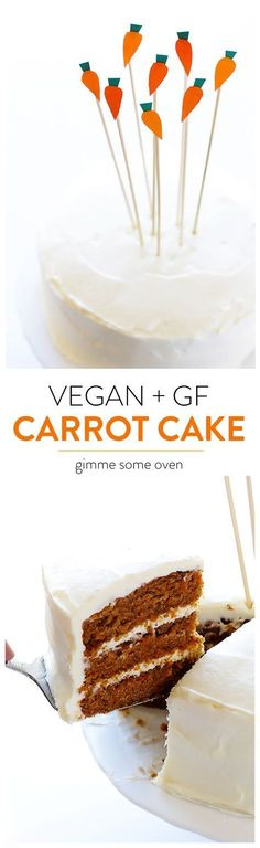 This Vegan Gluten-Free Carrot cake is made with everyday ingredients, fresh carrots, and a creamy frosting! | gimmesomeoven.com
