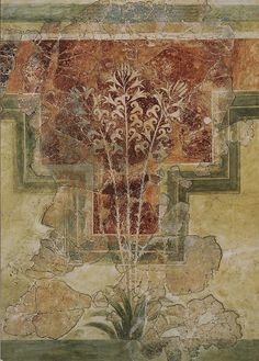 """Lilly fresco. 1500 BC. Found in """"House of the Lilies"""" at Amniso, Crete.  Currently in the Heraklion Archaeological Museum."""