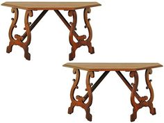 Italian Baroque Walnut Console Tables, Octagonal Dining Table