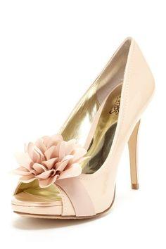 I hate heels--but these are cute. Cupcake Open Toe Flower Pump by Carlos Santana - HauteLook