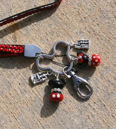 Long Neck Red Bling Lanyard Keychain Mickey N Minnie by chuckhljal, $40.00