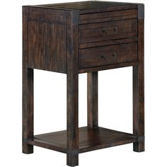 Rustic industrial sophistication makes Pine Hill the perfect bedroom for any setting, from loft to mountain retreat to suburban residence with a warm Rustic Pine finish on pine solids, offset by metal Aged Iron hardware. Nightstand echo the Industrial design with fresh forms highlighted with large Aged Iron bale pulls.Features: Finish: Rustic PineDrawers are tinted with French dovetail in the front and English in the back.Top drawer bottoms are felt lined.Sealed for dustproofing.Drawers…