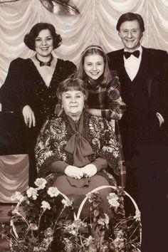 sitting - the great Russian actress Maria Mironova, stand - her son, actor Andrei Mironov, daughter-in-law actress Larisa Golubkina  and Maria Golubkina