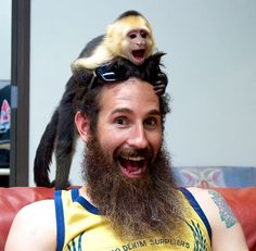 Aaron Kaufman from Gas Monkey With his beard and a monkey Aaron Kaufman, Richard Rawlings, Fast And Loud, Gas Monkey Garage, Awesome Beards, Hair, Beauty, Discovery Channel, Gas Money