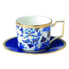 Hibiscus Iconic Teacup & Saucer inspired by a Wedgwood archival pattern from Blue White and Gold Bone China Tea Cup & Saucer. Tea Cup Set, Cup And Saucer Set, Tea Cup Saucer, Tea Sets, Hibiscus Tea, Teapots And Cups, Teacups, China Dinnerware, Dinnerware Ideas