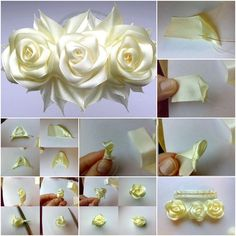 How to DIY Satin Ribbon Rose Flower Hairclip tutorial and instruction. Follow us: www.facebook.com/fabartdiy