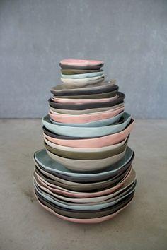 good palette: moss / sky / cream / ballet pink Dishes, Plates, Tableware, Estilo Boho, Cool, Juice, Argentina, Boho Chic, Organic Shapes