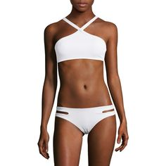 L'Space Women's Veenus Ribbed Bikini Top - White, Size L ($44) ❤ liked on Polyvore featuring swimwear, bikinis, white, white beach wear, white tankini top, lspace bikini, white two piece and bikini bottom swimwear