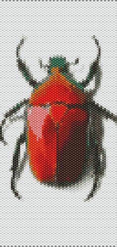 Red Beetle Peyote Cuff Beaded Bracelet от RubyDsArtandJewelry