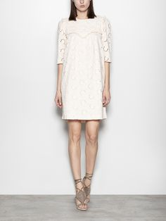 Guipure cotton babydoll dress | Hoss Intropia Spain