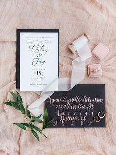 black white and blush wedding stationery suite