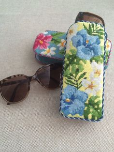 Needlepoint sunglass cases ~ Canvases by Kirk & Bradley