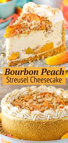 This Bourbon Peach Streusel Cheesecake is so full of flavor and perfect for summer! The combination of peaches, bourbon, brown sugar and cinnamon is insanely delicious! Fancy Desserts, Köstliche Desserts, Delicious Desserts, Dessert Recipes, Yummy Food, Summer Cake Recipes, Health Desserts, Homemade Cheesecake, Cheesecake Desserts