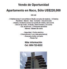 Apartamento en Naco, Sólo US$220,000 - 809-722-8222 - Publicidad
