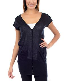 Take a look at this Black Short-Sleeve Sheer Cardigan by Buy in America on #zulily today!