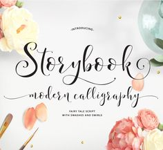 Storybook Hand-Lettered Calligraphy Script Font -Commercial Download by EmilySpadoni on Etsy https://www.etsy.com/listing/260724722/storybook-hand-lettered-calligraphy