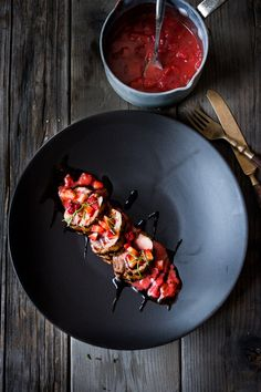 Grilled Balsamic Pork Loin with Rosemary and Strawberries | www.feastingathome.com