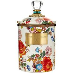 MacKenzie-Childs Medium Flower Market Canister (21cm) ($120) ❤ liked on Polyvore featuring home, home decor, bronze home decor and floral home decor