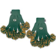 Green Bay Packers Pom Pom Knit Gloves at the Packers Pro Shop http://www.packersproshop.com/sku/4504078062/